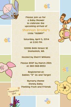 Winnie the Pooh Invitations Peeking Pooh  Printed or Digital File on Etsy, $0.60