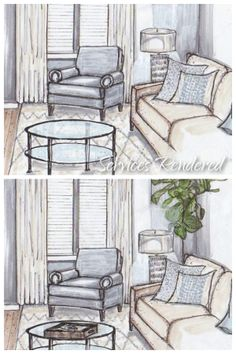 Styling a rendering is as important as styling a photo shoot. Design by Erika Bonnell Interiors, rendering by Jane Gianarelli
