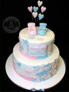 Bolo Chá de revelação. Cute Cupcakes, Cute Cookies, Baby Shower Cakes, Baby Boy Shower, Bolo Original, Decoration Buffet, Gender Reveal Decorations, Gender Party, Cake Factory