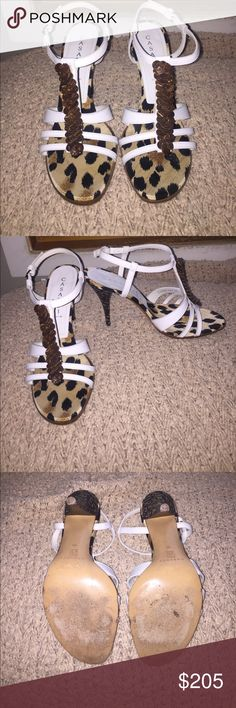 Casadei Sling size 10 Sexy, classy heeled sandals in white with brown ornaments. Only worn once, in excellent condition. Was just sitting in my closet, Chang do heels. Casadei Shoes Sandals