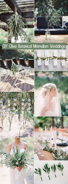 Easy DIY olive branch botanical minimalism wedding ideas