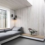 INSPIRATION : Window seat love this afternoon. Limed timber walls add harmonious contrast in this restful home designed by .We could definitely do with an afternoon kip right here, right now. Interior Modern, Interior Architecture, Dezeen Architecture, Garden Architecture, Scandinavian Interior, Room Interior, Minimalism Living, Ideas Habitaciones, Timber Walls