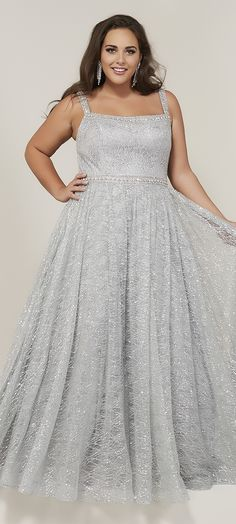Tiffany Designs 16381 is a sparkle tulle plus size prom gown that has a beaded bodice with lace underlay, narrow straps, an A-line skirt, lace-up back, and sweep train. Grad Dresses Short, Prom Dresses For Teens, Plus Size Prom Dresses, Prom Dresses Online, Formal Dresses, Prom Gowns, Mothers Dresses, Dress Prom, Formal Wear