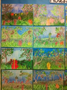 Apex Elementary Art: Jungle Fever Henri Julien Félix Rousseau was a French Post-Impressionist painter in the Naïve or Primitive manner. He was also known as Le Douanier, a humorous description of his occupation as a toll collector. Henri Rousseau, 2nd Grade Art, Fourth Grade, Third Grade, Brazil Art, Classe D'art, Middle School Art, Art School, Art Lessons Elementary