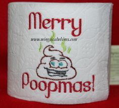 This is a machine embroidery file. Fits the 4 x 4 Hoop Formats include:  PES, HUS, JEF, VIP, DST Terms of Use for this are listed in the Terms Section. Image shows what it looks like stitched out. The image with the Toilet Paper are examples only, the designs do not come with purchase nor does the Toilet Paper.  Digital Download only