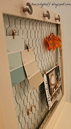 Good tutorial on how to make a chicken wire/picture frame bulletin board.