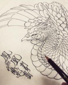 Japanese Phoenix Tattoo, Japanese Tattoo Art, Japanese Tattoo Designs, Japanese Art, Tattoo Sketches, Tattoo Drawings, Irezumi, Body Art Tattoos, Sleeve Tattoos
