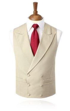 Gold Buff Morning Suit Waistcoat Double Breasted Peak Lapel: Amazon.co.uk: Clothing