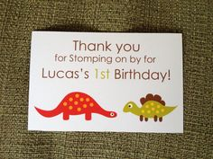 Dinosaur 1st First Birthday Party Thank by BoogieBearInvitation, $6.00