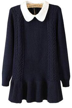 bf09cd7db32c30 Navy Long Sleeve Lapel Ruffle Sweater - Sheinside.com a perfect casual  ulzzang sweater