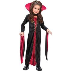 Our kid's vampira dress is a classic Halloween costume for girls. This traditional girl's vampire dress is ideal for any Halloween costume party. Black and red