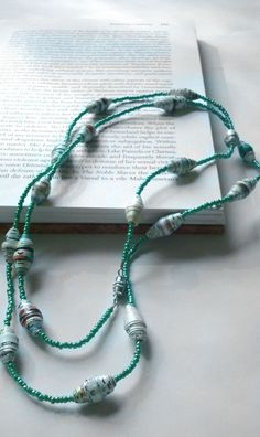 AQUA AND ENCYCLOPEDIA PAPER BEAD CHAIN
