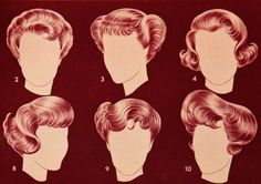 Fifties hairdos I remember my mom with a couple of these :)