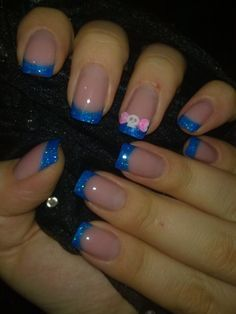 Gel nails with acrylic skull-ribbon | best stuff