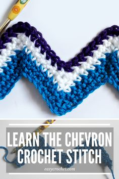 Learn How Make a Chevron Crochet Stitch today! Chevron patterns create amazing crocheted design patterns for blankets, hats & scarves! Chevron Crochet Blanket Pattern, Crochet Ripple, Easy Crochet Blanket, Crochet For Beginners Blanket, Afghan Crochet Patterns, Crochet Basics, Crochet Stitches, Chevron Afghan, Ripple Afghan