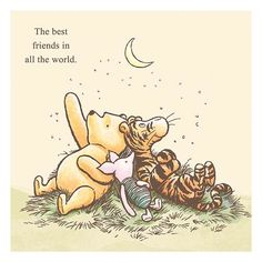 Classic Winnie the Pooh - The Best Friends in all the world.  Stretched Canvas Print - Artissimo - Artwork at Entertainment Earth