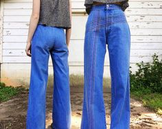 bbdbe8d598a Vintage 1970s Rare High Waisted h.i.s Mid Blue Denim Rare Rainbow  Embroidered Hippie Bell Bottoms Jeans 24 x 32