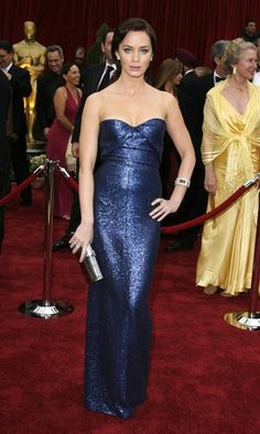 Pin for Later: 85 Unforgettable Looks From the Oscars Red Carpet Emily Blunt at the 2007 Academy Awards Emily Blunt brought blue Calvin Klein sequins to the carpet in 2007.