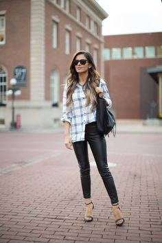 OCTOBER 9TH, 2015 BY MARIA Black & White Plaid - Plaid Top // Blank NYC Leather Pants // Nordstrom Fringe Bag // Zara Heels // Ray-Ban Sunglasses // BaubleBar Necklace