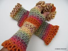 "Crochet Lacy Gloves, Gorgeous Fingerless Crochet Gloves ""Happy Autumn"" With Ruffle Border, Ruffled Crochet Lace Arm Warmers, Lyubava Crochet. $21.99, via Etsy."