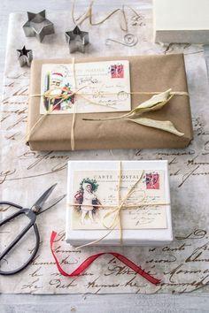 Vintage French Christmas Postcards - free printable!