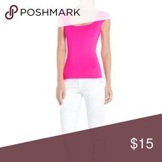 Neon Pink Stretch Tee Slightly worn, stretch, cap sleeves with padding BCBGMaxAzria Tops