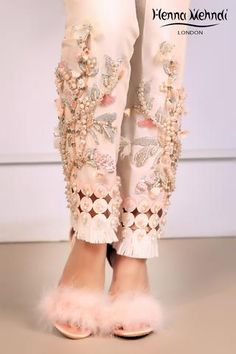 Ivory raw silk cigarette trousers with mix embroidery and embellishment and embroidered lace finishing's. Available to order as cigarette trousers, boot cut trousers or straight trousers. Unique Dresses, Stylish Dresses, Pakistani Wedding Outfits, Pakistani Dresses, Girls Dresses Sewing, Lehnga Dress, Sleeves Designs For Dresses, Kurti Designs Party Wear, Stylish Dress Designs