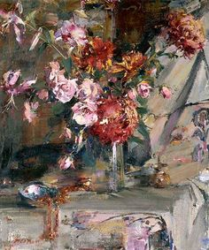 ❀ Blooming Brushwork ❀ - garden and still life flower paintings - Nicolai Fechin | Vase of Flowers, 1927