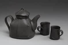 Teapot by Margaret Bohls: Soft, hand built, minimal decoration, love the obvious joins and assymettry