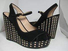 6e246698ddff Sz 9.5 NEW TORY BURCH wedge sandals Ollie Suede black Polka Dot platform  SHOES