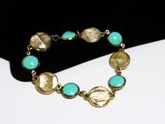 Vintage Goldtone Bracelet with Bezel Set Faux Turquoise Links - Faux Gold Nuggests - Magnetic Clasp