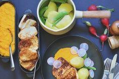 Fiskepudding med gulrotpuré, potet & pepperrotrømme