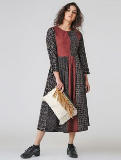 Black-Madder Natural-dyed Ajrakh Cotton Dress with Gathers