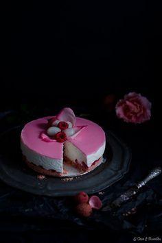 Lychee, rosewater and raspberry cheesecake