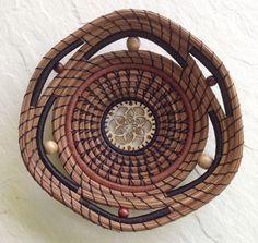 Pine Needle Basket with Wooden Center by CarolsCoiledArt on Etsy, $80.00