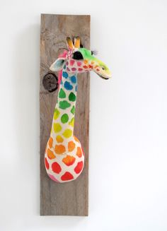 Rainbow Giraffe Faux Taxidermy by Characters by Julia - The Sideshow Gallery in Williamsburg, VA. Meet Edgar the Jackalope. Wall Art Sets, Framed Wall Art, Canvas Wall Art, Framed Art Prints, Wall Art Prints, Faux Taxidermy, Modern Wall Art, Giraffe, Unique Gifts