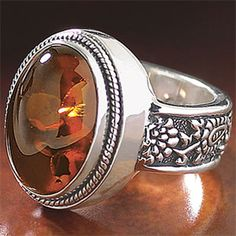 Amber Paisley Ring - Gothic Renaissance Medieval Celtic Wicc ...