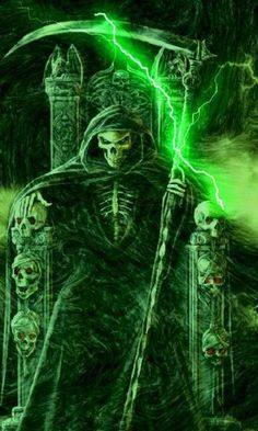 Cool Grim Reaper Wallpapers | View bigger - Green Lightning Grim Reaper LW for Android screenshot