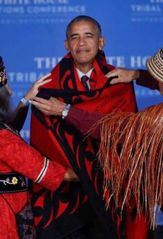 #President Of The United States 🇺🇸#BarackObama #hosted the eighth (8) and #Final 2016 #WhiteHouse #TribalNationsConference on #September26th in #WashingtonDC #Obama was #presented with a conical hat and a red-and-black blanket that was draped over his shoulders in #appreciation