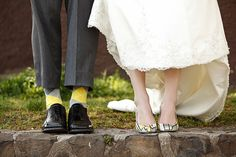 Citrus Yellow and Grey Wedding Theme - this is a cool photo. Even if you don't have special shoes, it would be cool if he does :-)
