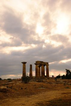 Ancient Corinthos, Apollo's temple with a dreamy sky   Greece