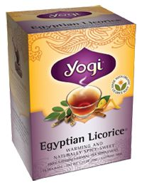 Egyptian Licorice Tea by Yogi Tea. I don't even like licorice but I love the combo in this tea. Perfect for a cold day!
