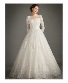 Shop high-end classic a-line high-neck floor-length tulle wedding dress with appliques lace online. 2016 Wedding Dresses, Tulle Wedding, Bridal Dresses, Wedding Gowns, Prom Dresses, Bridesmaid Skirt And Top, Holy Communion Dresses, Lace Dress, White Dress
