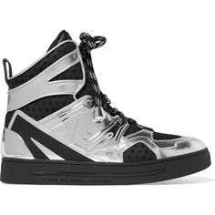 Marc by Marc Jacobs Ninja mesh-trimmed metallic leather high-top... (975 RON) ❤ liked on Polyvore featuring shoes, sneakers, black, black leather sneakers, black shoes, black high top sneakers, black high tops and black laced shoes