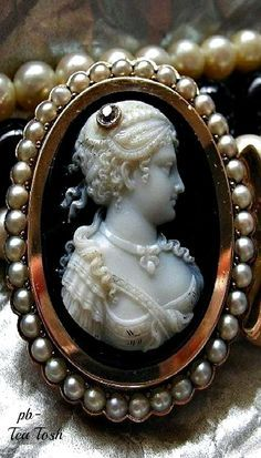 Victorian Onyx & Cultured Pearl Cameo Necklace, c. 1880
