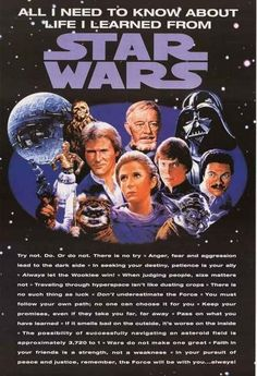 """All you need to know about life you can learn from this greatStar Wars poster! Includes quotes: """"Do or do not, there is no Try"""", """"Always let the Wookie win"""", a"""