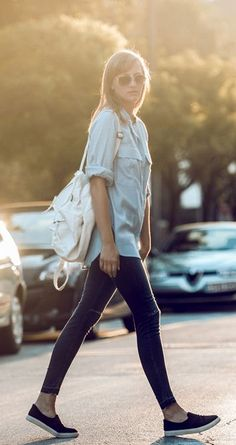 Katarina Vidic is wearing jeans from H&M, slip-ons from TopShop and a boyfriend shirt from Front Row...   Style Inspiration