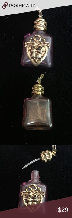 Vintage mini perfume bottle necklace Lavender purple tone mini perfume bottle that opens and can be filled with your favorite scent.  Can be used as a pendant or charm.  So unique and boho fun! Jewelry Necklaces