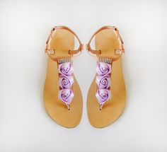 fe7213a7a Items similar to Sandals - Handmade leather sandals decorated with Light  Purple Ribbon Roses and Rhinestones on Etsy. Yellow OrchidBridal ...