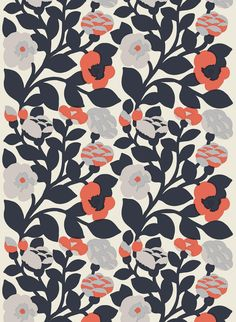 The large-scale Green Green print in grays, dark blue, and orange accents on heavyweight cotton. Katsuji Wakisaka originally designed this flowering plant pattern in 1975.